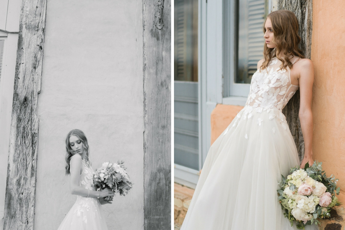 black_and_white_and_color_of_french_bride_outdoors_holding_bouquet.jpg
