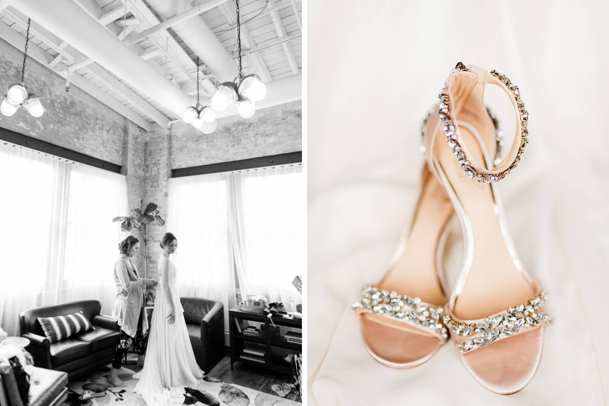 black_and_white_bride_getting_in_to_wedding_gown_in_industrial_room_and_close_up_of_diamond_jeweled_wedding_heels.jpg