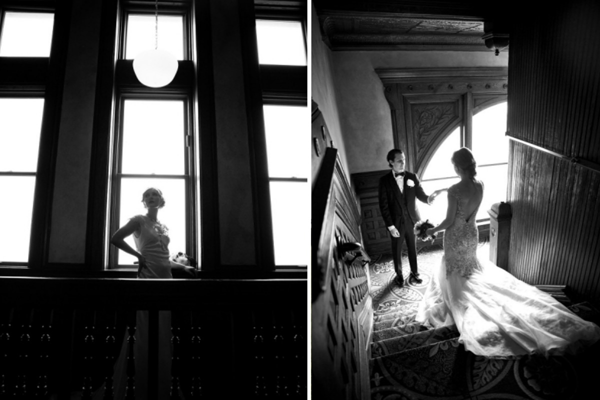 black_and_white_portrait_first_look_bride_walking_down_staircase_to_groom.jpg