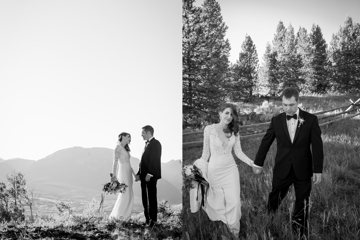 black_and_white_portrait_of_newlyweds_near_mountain_venue.jpg