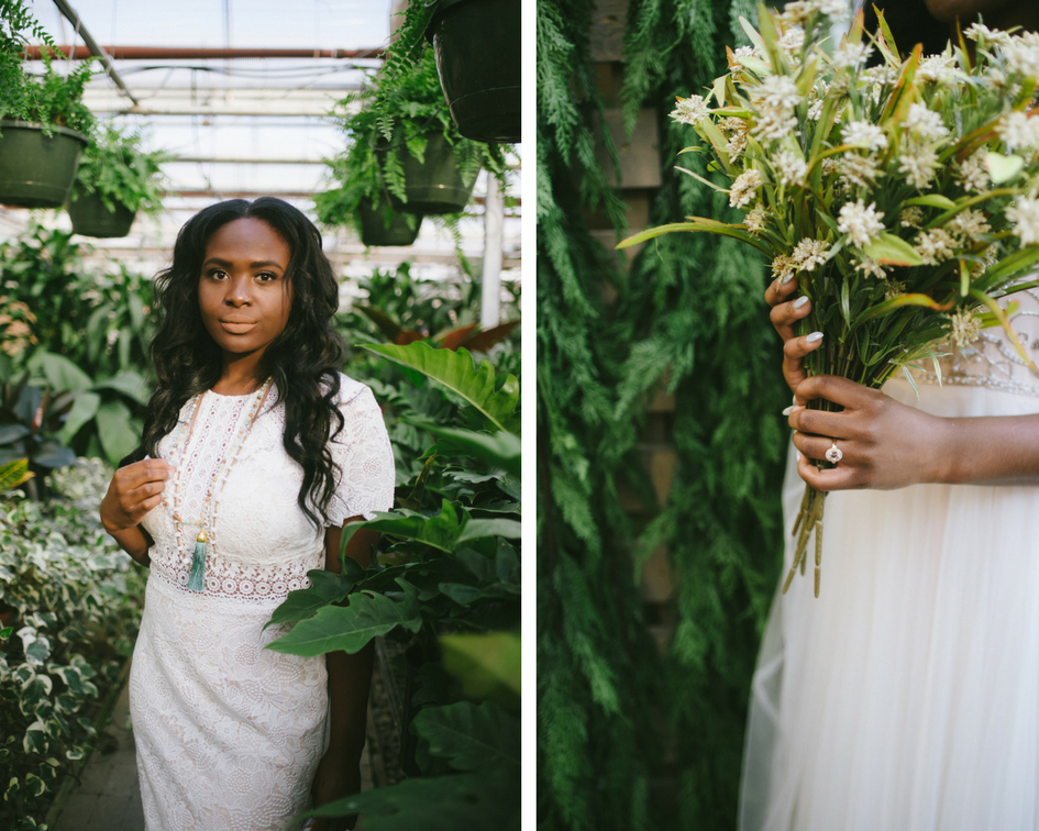 black_bride_holding_bouquet_in_greenhouse.png
