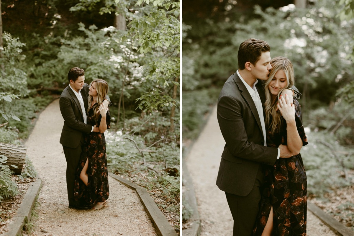 black_floral_maxi_dress_engagement_photos_in_woods.jpg