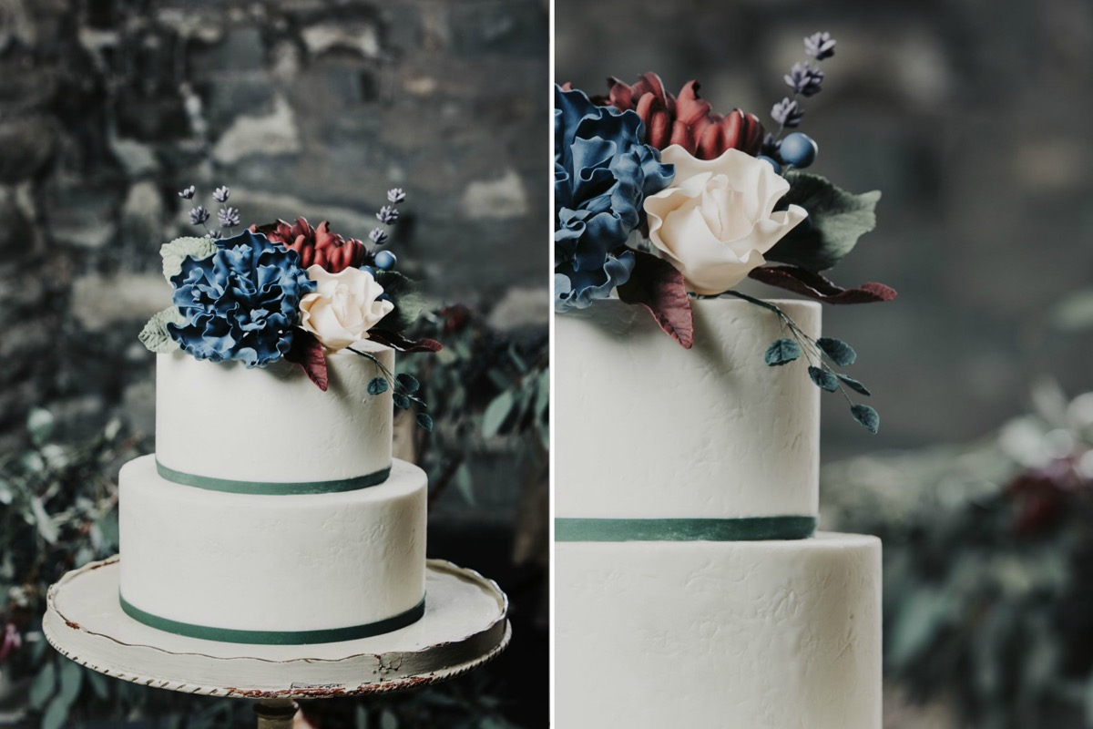 blue_red_pink_flowers_on_white_cake_green_details.jpg