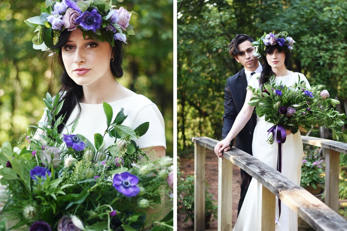 bohemian_couple_standing_on_bridge_purple_bouquet_ribbon.jpg