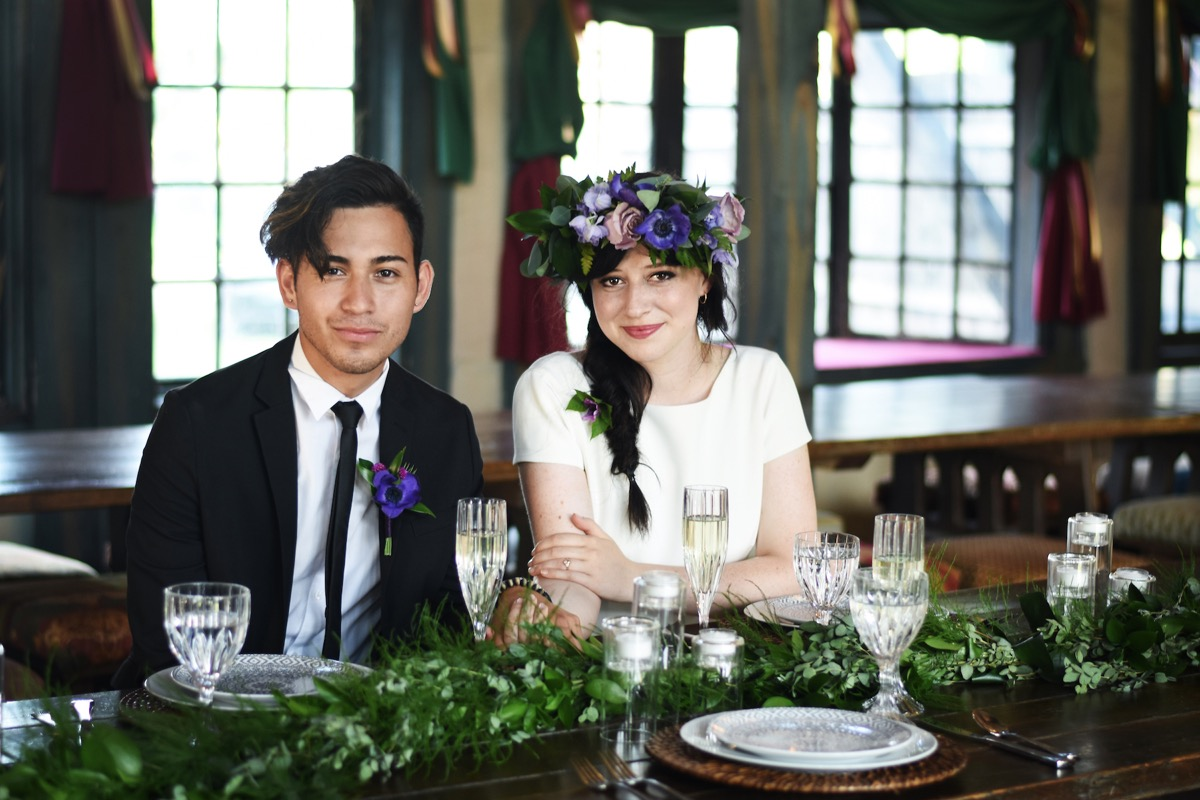 bohemian_wedding_couple_reception_purple_flowers_.jpg