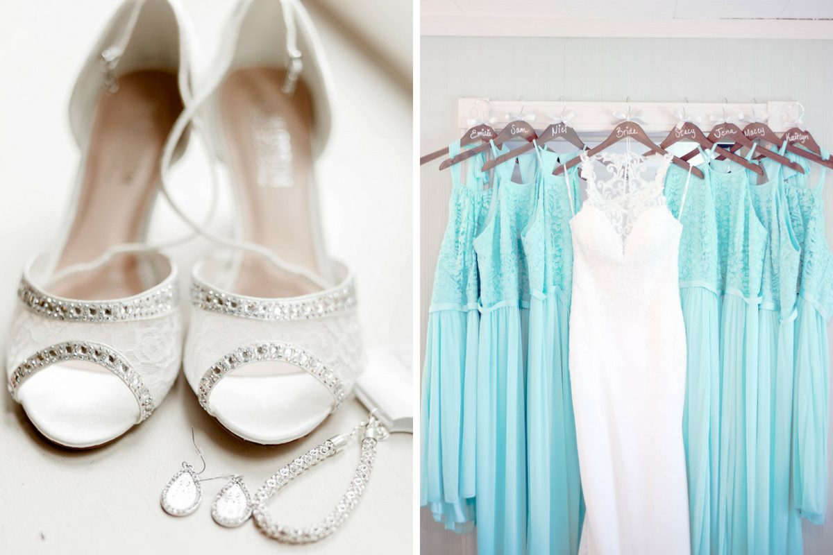 bridal_gown_with_teal_dresses_hanging_together_bridal_jewelry_and_shoes.jpg