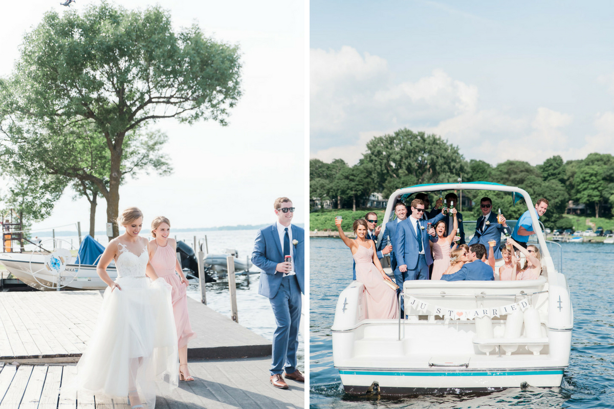 bridal_party_celebrating_on_boat_lake_minnetonka_bride_walking_holding_dress.jpg