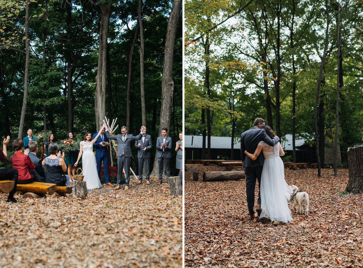 bride_and_groom_celebrate_marriage_walk_down_aisle_of_fall_woods_ceremony.jpg