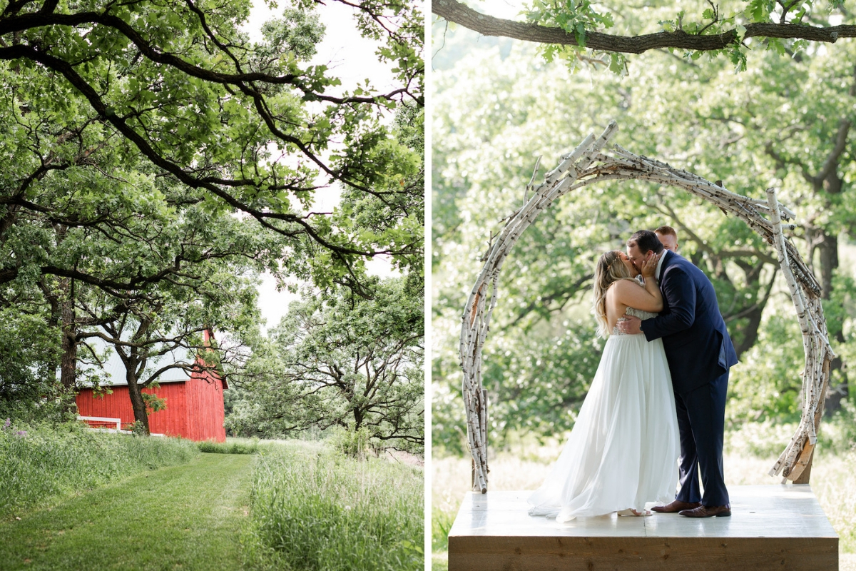 bride_and_groom_kissing_first_kiss_ceremony_branch_arch_outdoor_venue.jpg