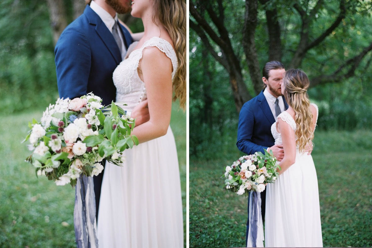 bride_and_groom_looking_at_each_other_almost_kissing_lavender_bouquet_ribbon.jpg