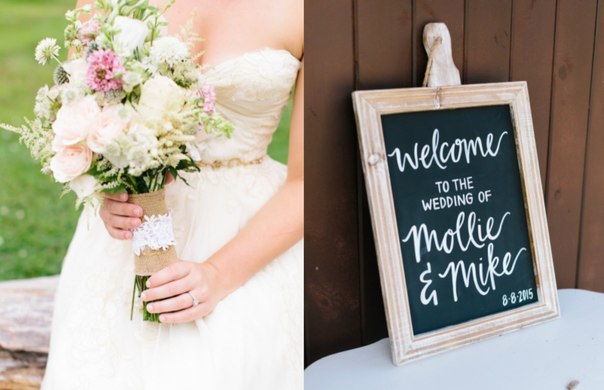 bride_in_strapless_gown_holding_burlap_bouquet_wooden_chalkboard_welcome_to_wedding_sign.jpg