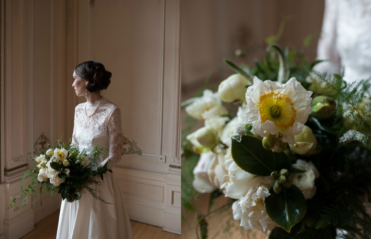 bride_peering_away_holding_greenery_bouquet_yellow_white_flowers.jpg