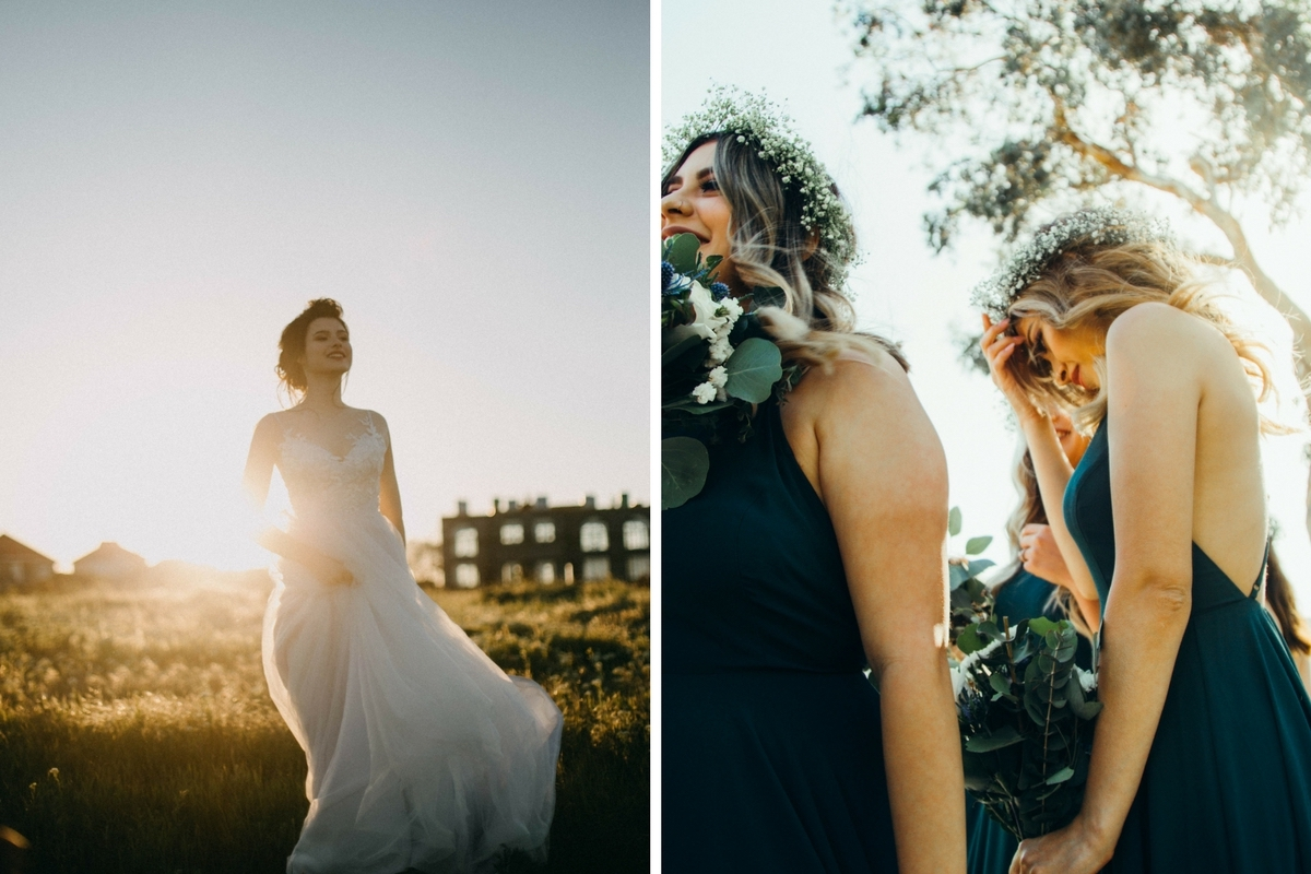 bride_running_at_sunset_and_bridesmaids_standing_in_blue_dresses.jpg