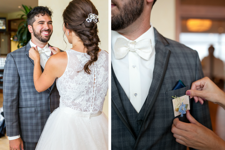 dark_gray_plaid_grooms_tux_white_bowtie.png