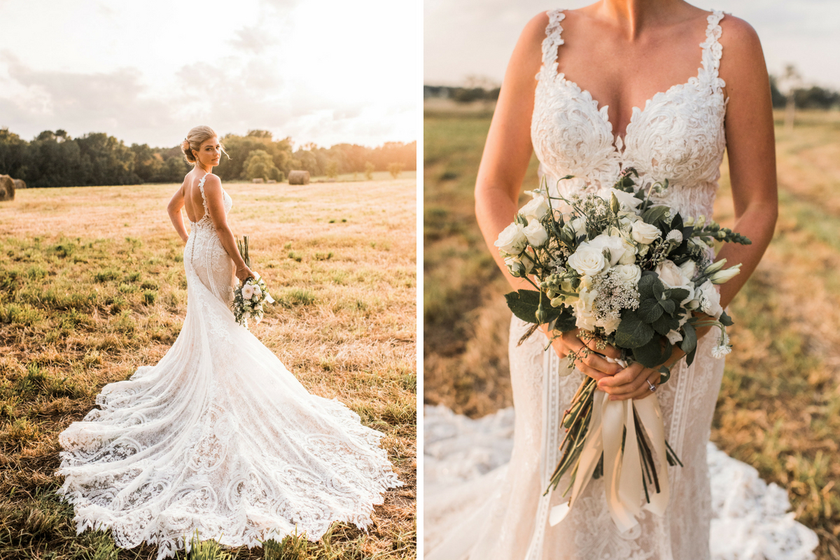 glowing_bride_in_field_at_sunset_lace_gown_train_holding_green_white_bouquet.jpg