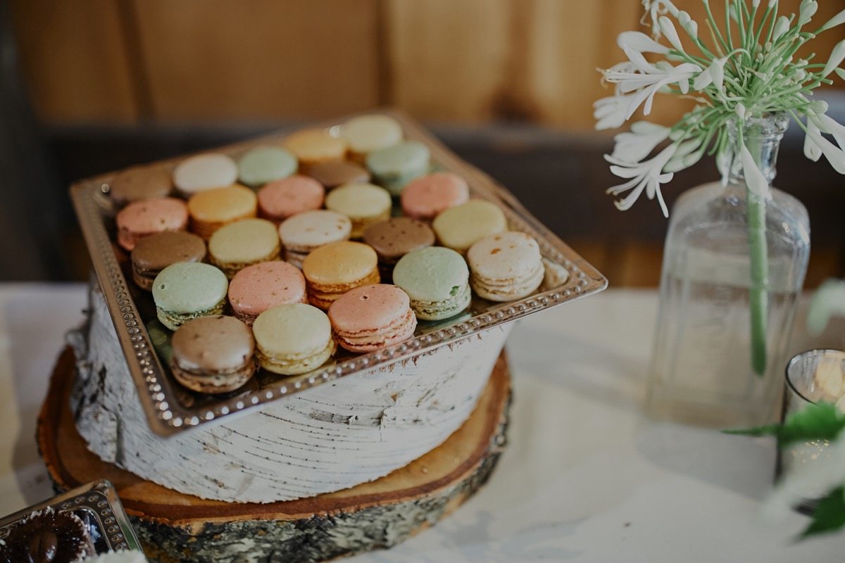 green_pink_yellow_brown_macaroons_square_gold_platter.JPG