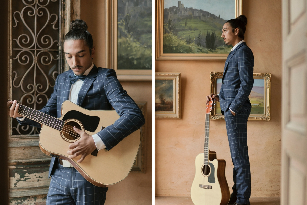 groom_in_navy_plaid_suit_with_guitar_in_french_building.jpg