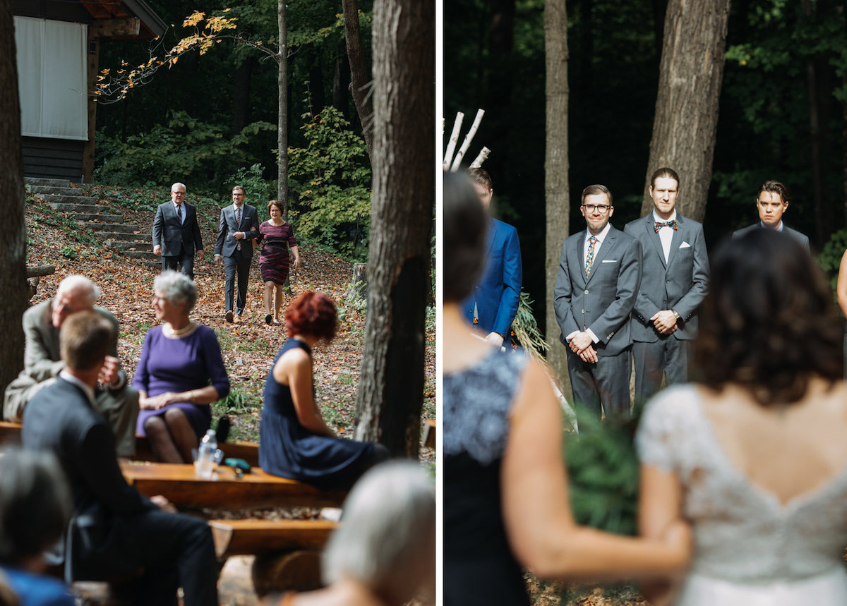 groom_walking_parents_down_aisle_autumn_woods_ceremony_leaves_trees.jpg