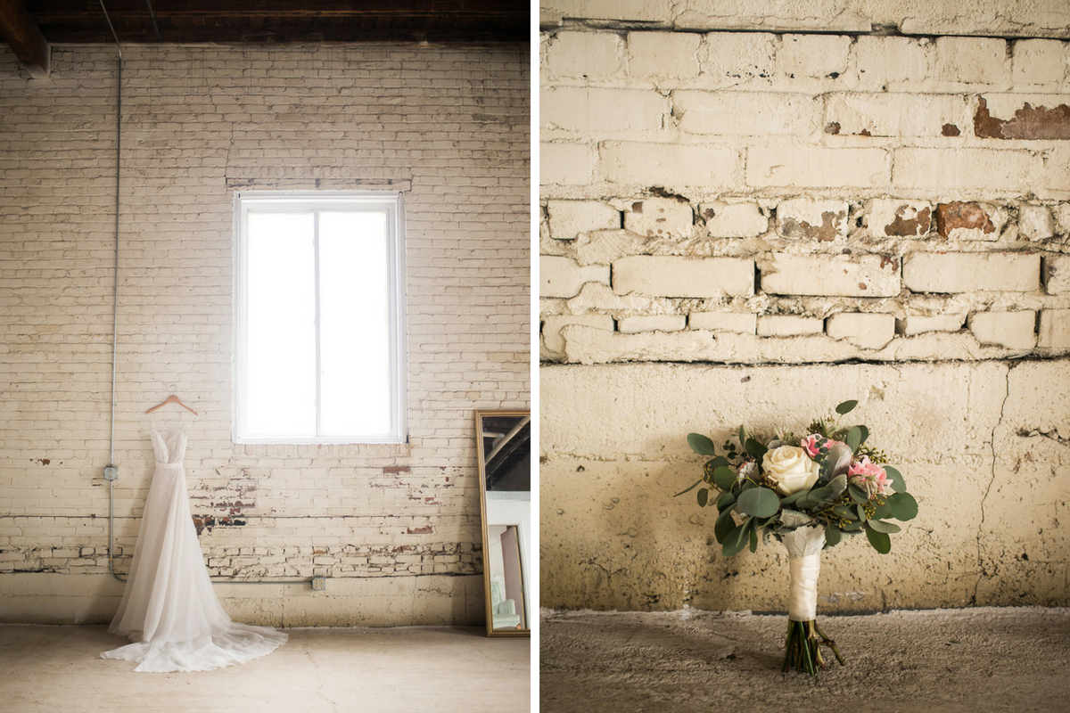 large_minimalwhite_brick_wall_wedding_gown_and-bridal_bouquet.jpg