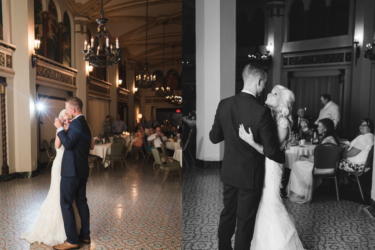 newlywed_first_dance_minnesota_lake_wedding_Greysolon_Ballroom_Moorish_Room.jpg