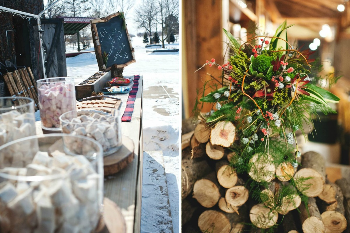 outdoor_winter_wedding_smores_bar_bouquet_on_log_pile.jpg