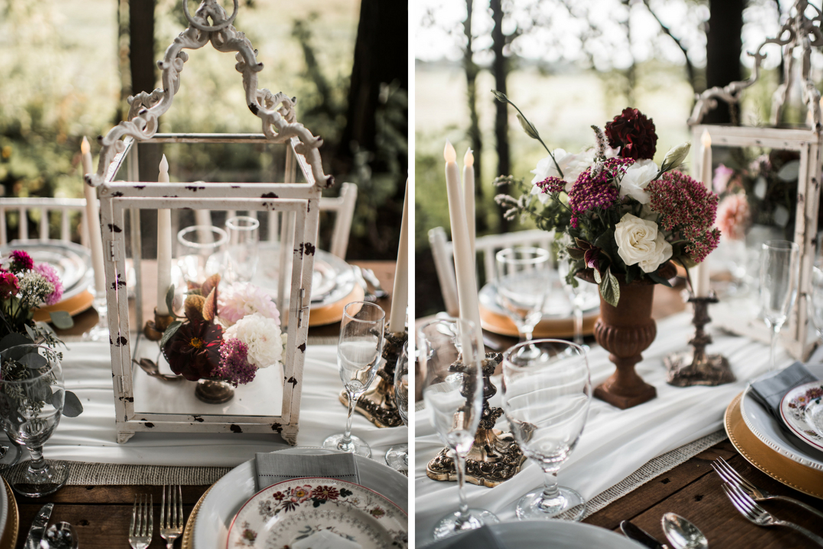 outdoor_woodsy_wedding_dinner_table_candle_holders_floral_bouquets.jpg