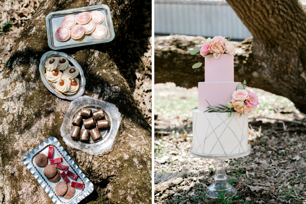 pink_and_white_floral_wedding_cake_and_wedding_treats_silver_platters.jpg
