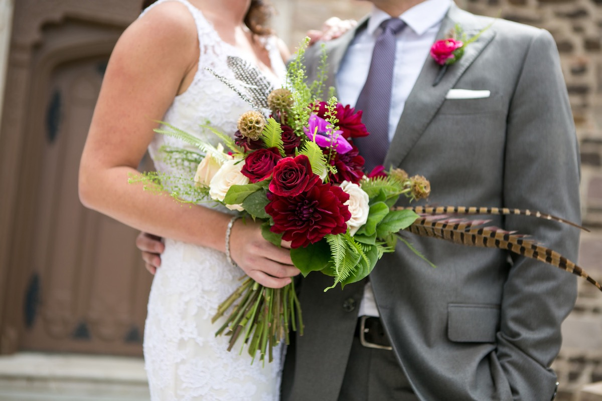 red_pink_purple_off_white_bouquet_with_hot_pink_boutineer.jpg