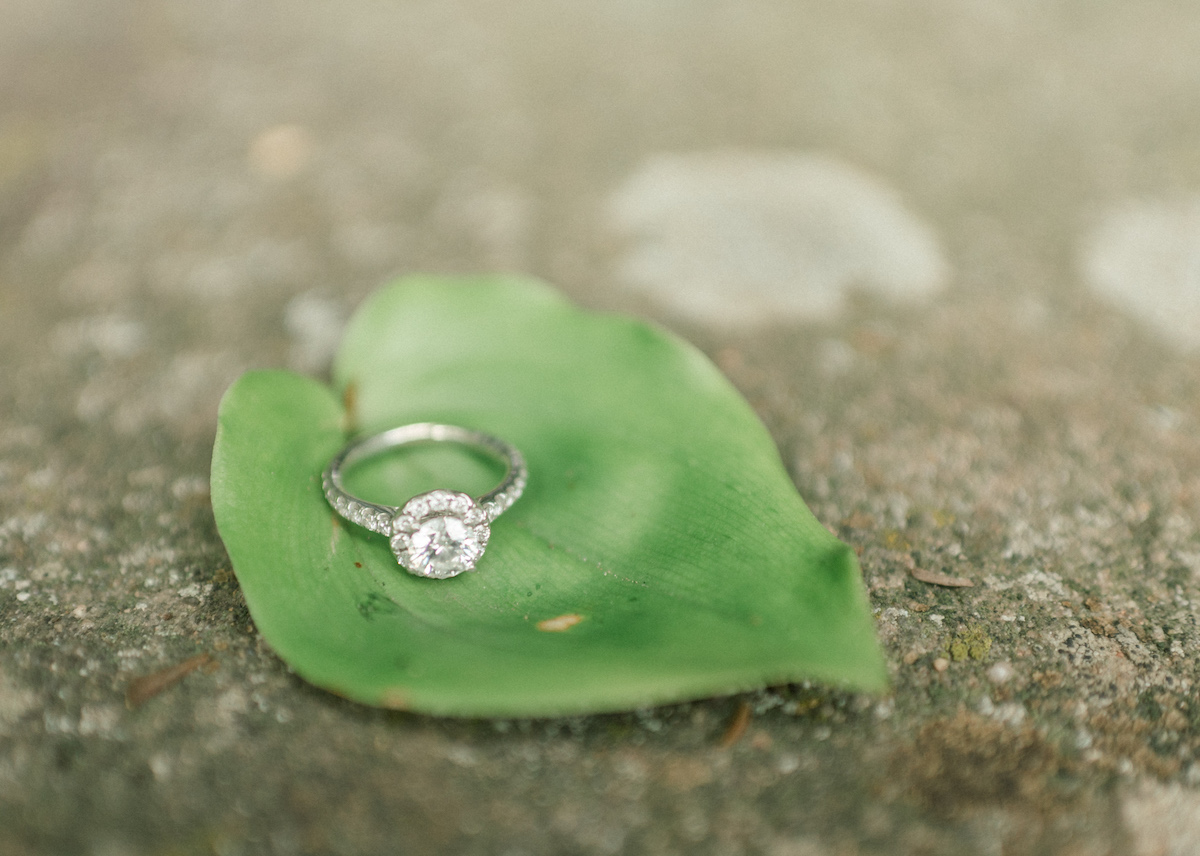 silver_engagement_ring_sitting_on_bright_green_leaf_on_path.jpg