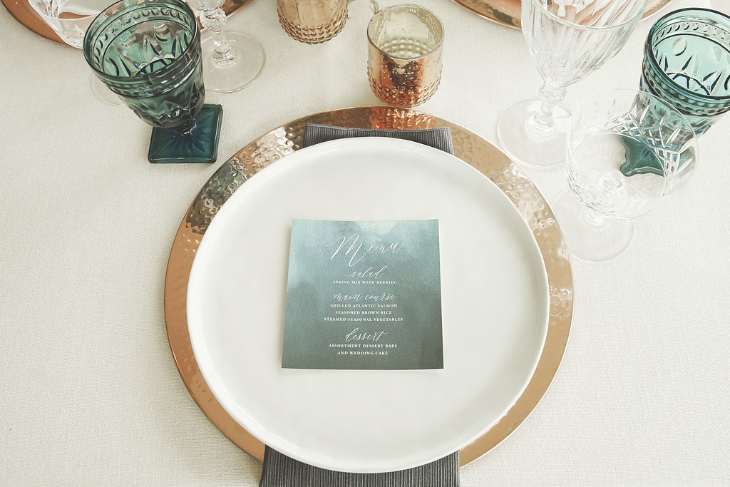 soft_turquoise_menu_white_calligraphy_gold_plate.jpg