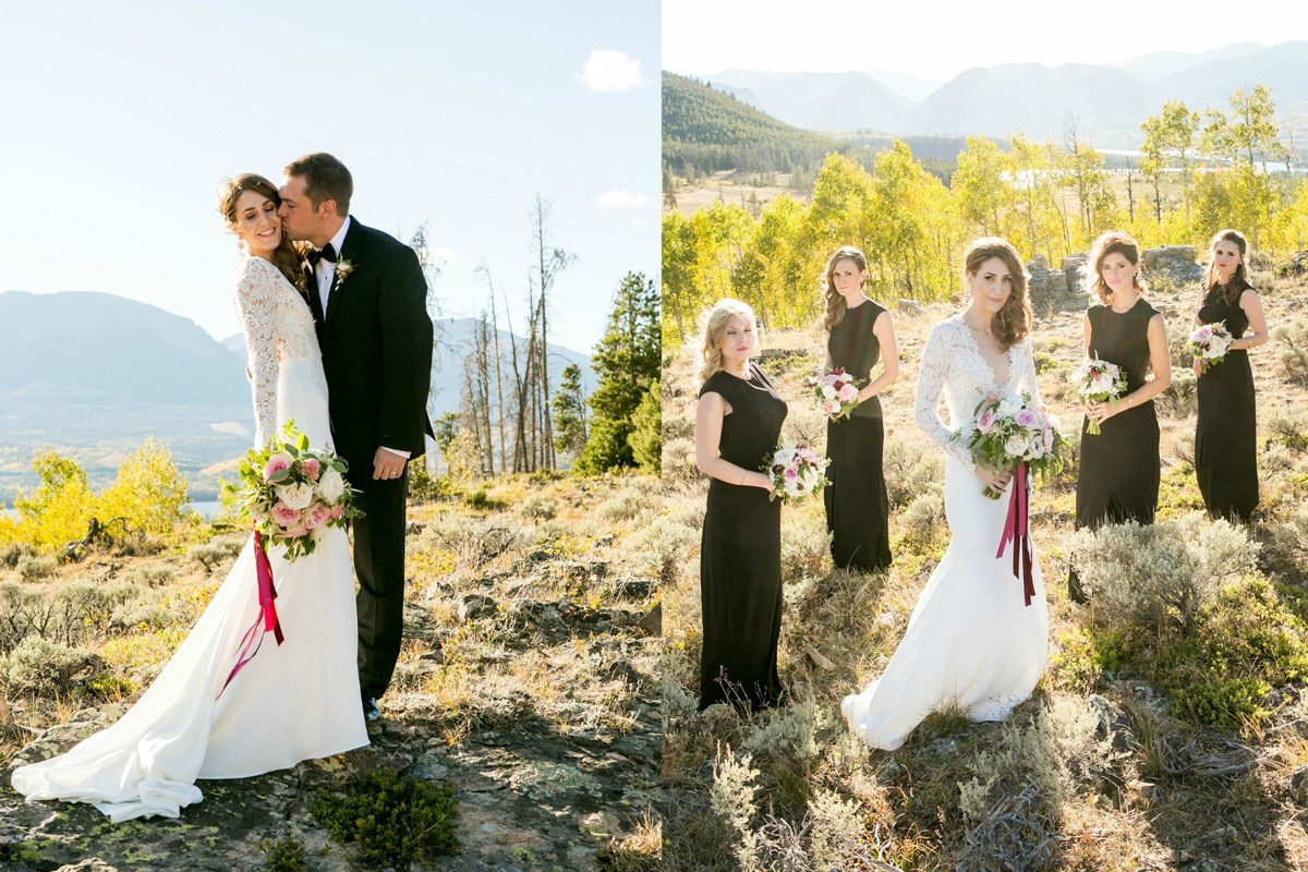 sunny_mountain_wedding_black_bridesmaid_dresses_burgundy_bouquets.jpg