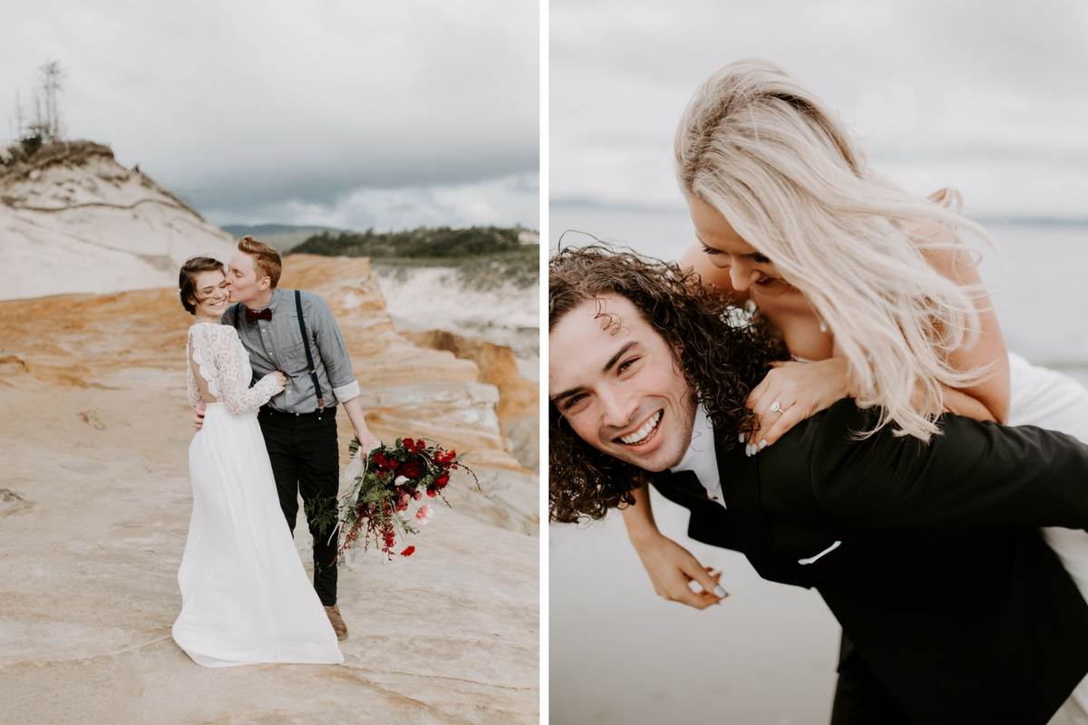 two_wedding_couples_on_beach_groom_giving_piggy_back_ride_and_kissing_cheek.jpg