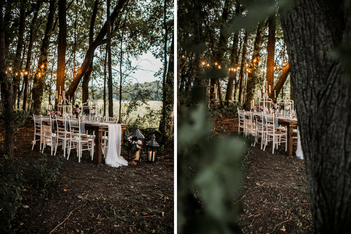 view_of_romantic_boho_wedding_table_in_woods_string_lights.jpg