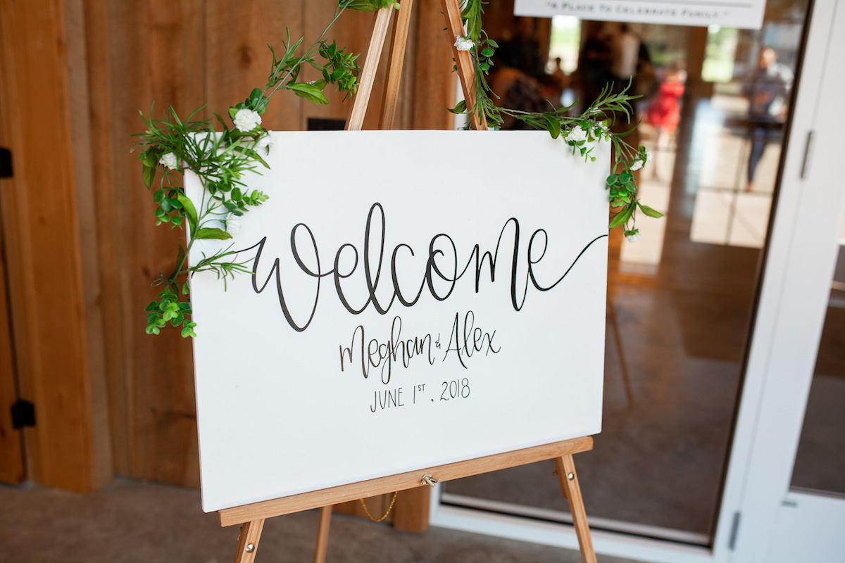 welcome_sign_for_wedding_white_with_black_lettering_greenery_decor.jpg