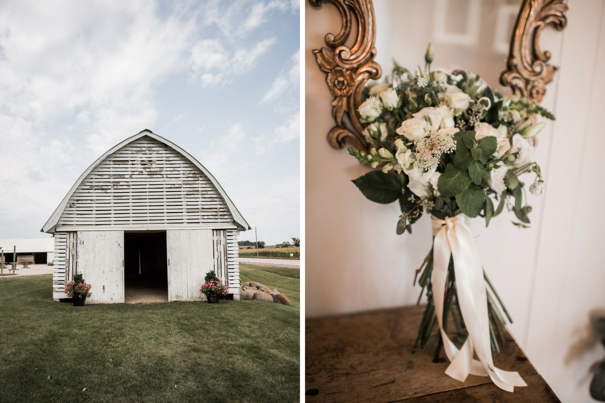 white_wedding_barn_with_pink_flowers_and_white_rose_flower_bouquet.jpg